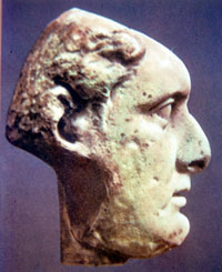 Roman ruler with low sloping forehead